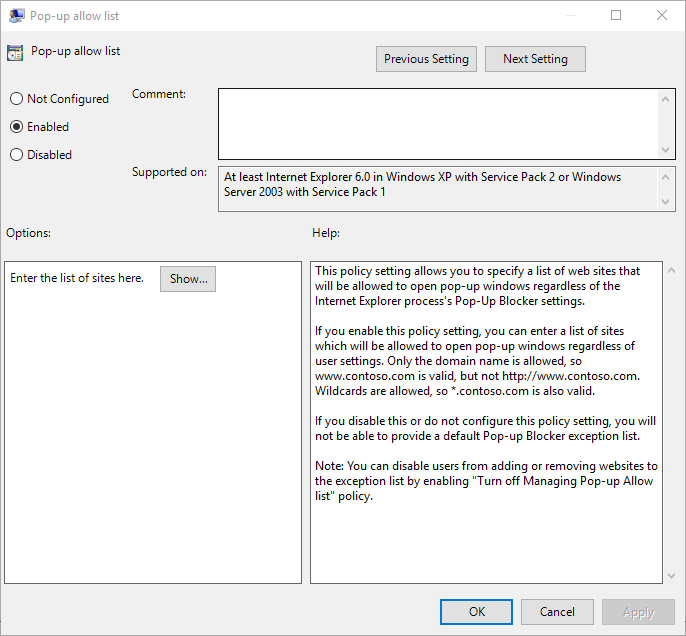 Group Policy Allow Internet Explorer Pop-ups